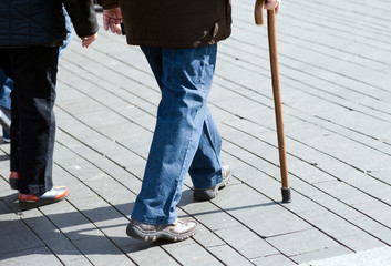Man with walking stick