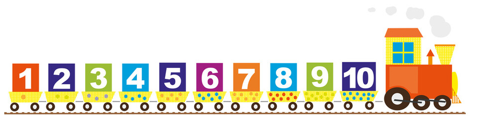 Train with numbers and the orange engine