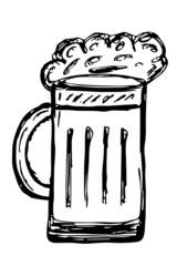 Bierglas mit Schaum, Silhouette