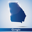shiny icon in form of Georgia state, USA