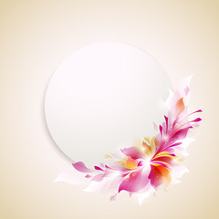 "vector template ""round label with abstract flower"""