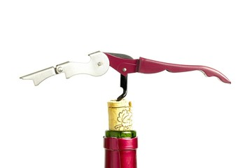 Corkscrew, cork and bottle.
