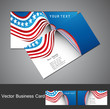 American Flag 4th july business card set wave design vector illu