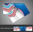 American Flag 4th july business card set wave design vector illu