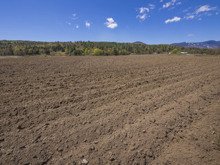 Farm field in Vermont ready to be seeded