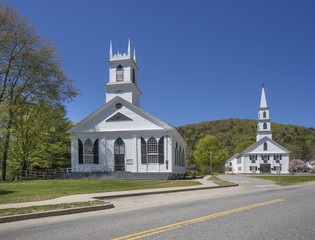 New England white wooden churches
