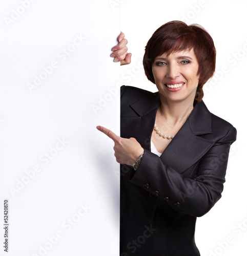 business lady showing sign-board