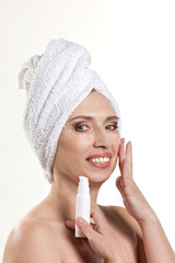woman with cosmetics product