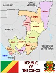 Congo Africa emblem map  administrative divisions