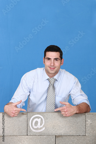 Man behind with email symbol