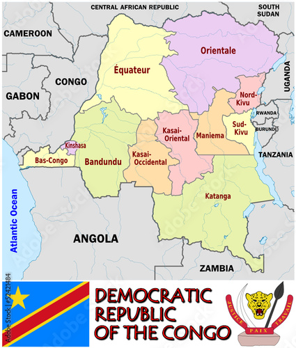 Democratic Congo Africa  map  administrative divisions