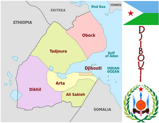 Djibouti Africa emblem map  administrative divisions