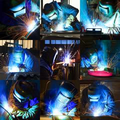 welder at work - collage