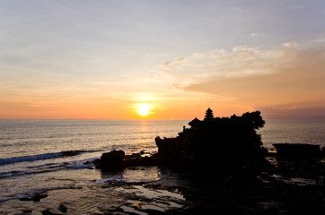Pura Tanah Lot silhouette during sunset on Bali