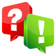Question & Answer Speech Bubbles Red/Green