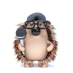 Cute hedgehog is on the mic