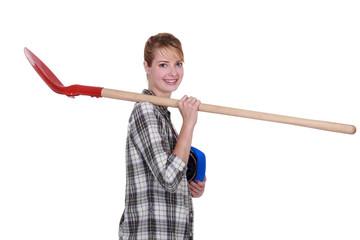 Craftsman holding a shovel