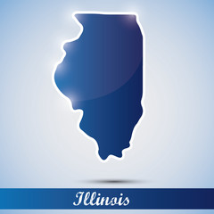 shiny icon in form of Illinois state, USA