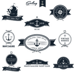 Retro nautical badge set