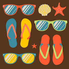 Seamless pattern with flip flops and sunglasses