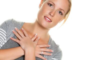 Frau mit gekreuzten Händen Frau mit gekreuzten Händen