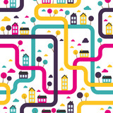 Background seamless pattern with abstract town. Vector.