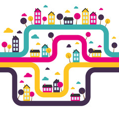 Background with abstract town. Vector illustration.
