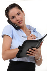 Receptionist on the telephone and writing in agenda