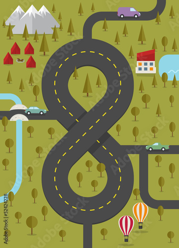 Background with road in the form of eight. Vector illustration.