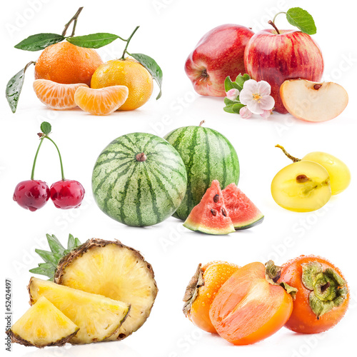 Collection of fruits isolated on white background