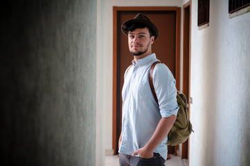 hipster young man posing