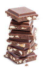 chocolate pieces stacked on white background