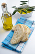 Ciabatta and olives in olive oil