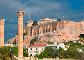 Temple of Olympian Zeus and Acropolis with Parthenon