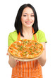 Girl housewife with delicious pizza isolated on white