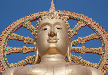 Statue of Big Buddha on blue sky background