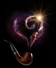 Tobacco pipe with smoke in the shape of a heart
