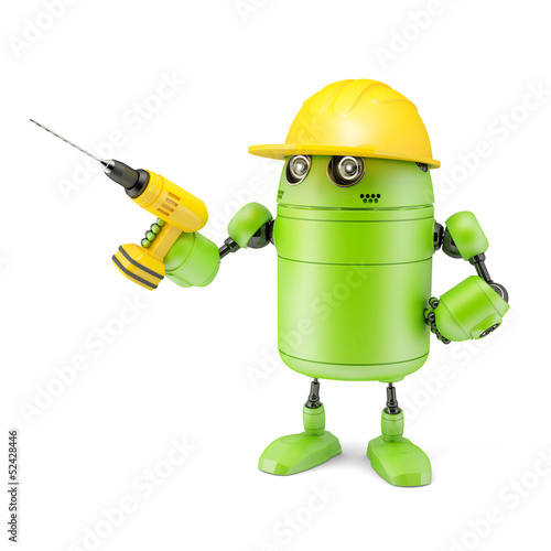 Android robot with drill. Technology concept