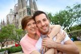 Couple standing by the Sagrada familia church, Spain