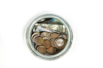glass jar with money top view