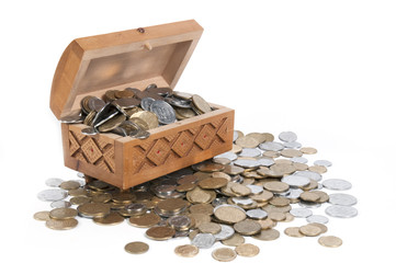 The box with coins on isolated background