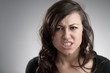 Angry Young Caucasian Woman Portrait