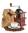 coffee mill, canvas bag with coffee beans and a cup of black cof