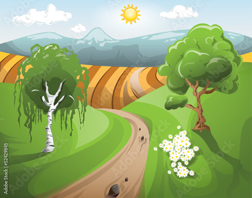 Natural rural landscape view