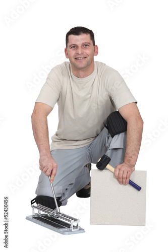 Portrait of a tile fitter