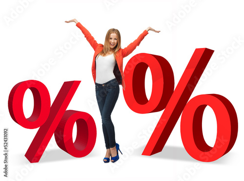 woman with percent signs
