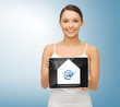 woman with tablet pc and envelope icon