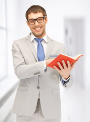 happy man with book