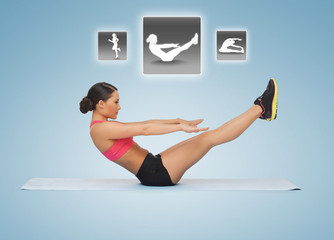woman doing exercises with virtual application