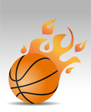 basketball ball with fire flames